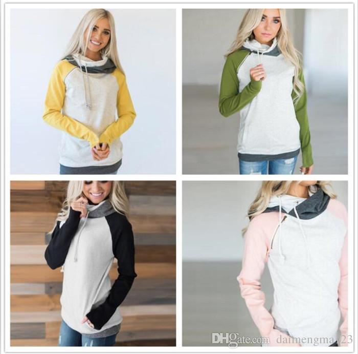 10 unids 4 colores de doble color de la cremallera de costura sudaderas con capucha mujeres remiendo de manga larga suéter de las mujeres del invierno sudaderas Jumper tops M134
