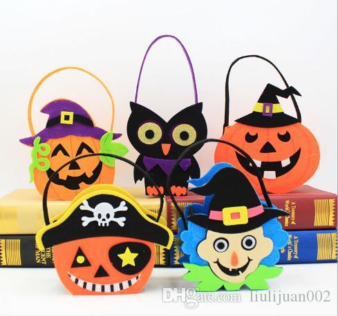 Halloween non-woven tote bag Ghost pumpkin skull felt cloth bag Witch gift bag