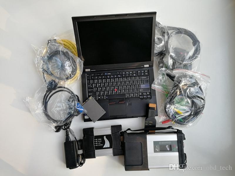자동차 진단 도구 사용 노트북 컴퓨터 T410 I5 I7 4G + MB 스타 C5 SD 연결 C + 아이콤 BMW + 1TB SSD 소프트 제품에 대한 A + B + C 다음