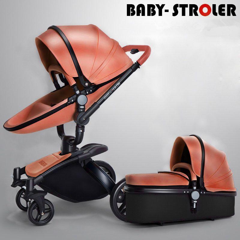 Alta Vista cochecito de bebé 2 en 1 cuero de la PU cochecito de bebé para los recién nacidos Silla de paseo plegable rotación de 360 grados del bebé de la carretilla