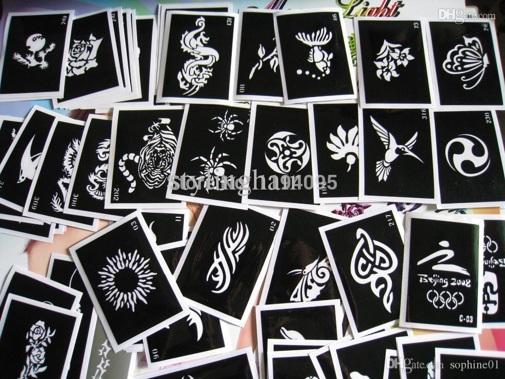 Wholesale 100pcs/lot Mixed tattoo stencil for painting henna tattoo pictures designs reusable airbrush tattoo stencil