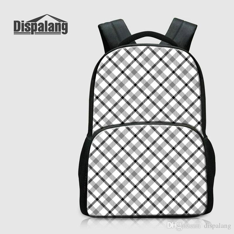 3D Printing Backpack For School Plaid Canvas Laptop Computer Bags For Teenagers 17 Inch College Bookbags Women's Bagpack College Schoolbags