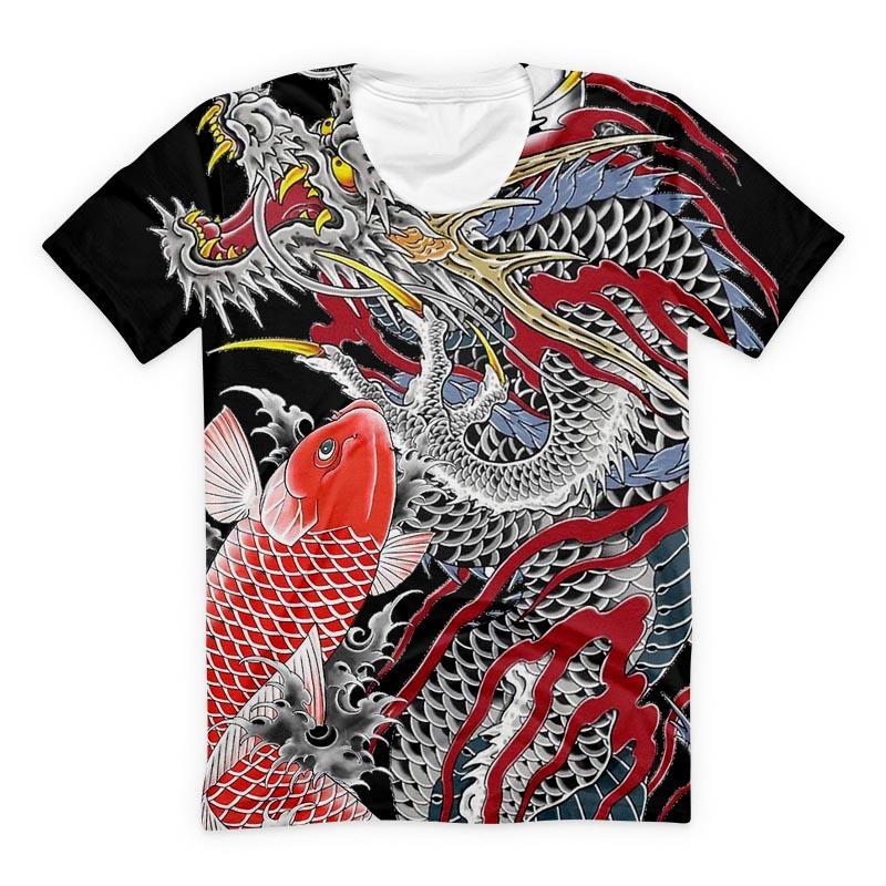 La más nueva moda Dragón y Koi Lucky camiseta divertida 3D impresa mujeres / hombres manga corta camiseta Unisex Casual Tops K357