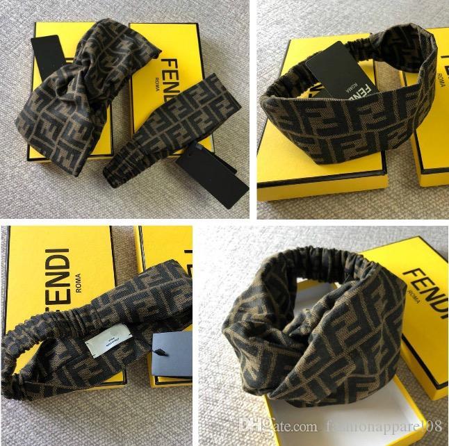 на складе женщина оголовье мода шарф ретро крестик ленты повязки люксовых брендов с метками ff повязка на голову с коробкой