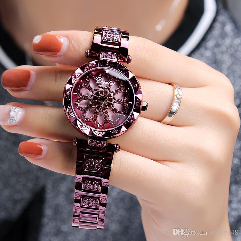 Luxuriöse Damenkleid Quarz Diamant-Legierungsgeschenk Damenuhren Trend der Mode-Persönlichkeit, um die Windmühle-Edelstahl-Uhr zu führen