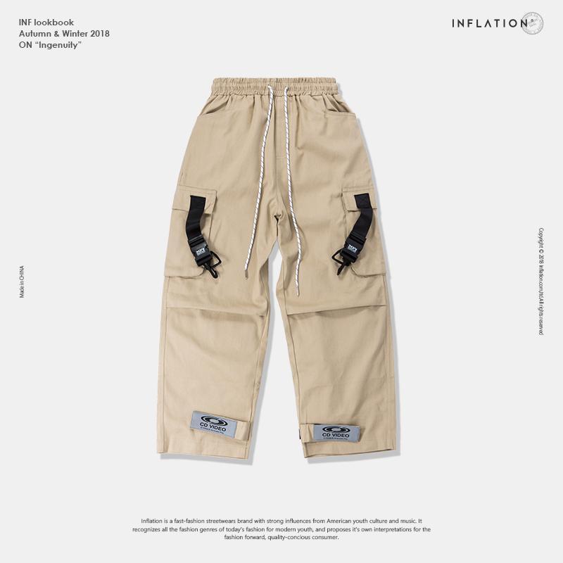 Cargo Pants autunno e la personalità inverno tridimensionale tasca adesivi magici riflettenti fascio camici casuali degli uomini allentati 2019