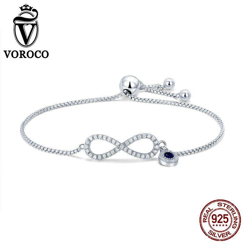 VOROCO Echt 925 Sterling Silber Kette Link Infinity Armbänder Armreifen Femme Frauen Armband Charms Schmuck Zubehör BKB087