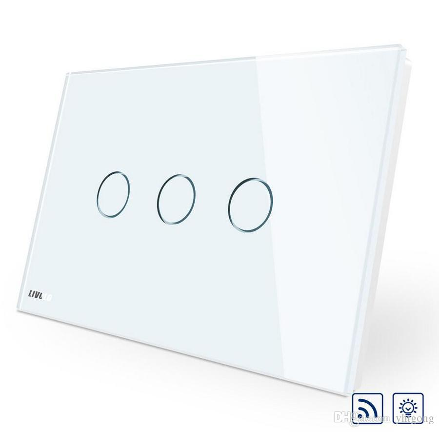 High Quality AU/US standard, Wireless Switch VL-C903DR-11,White Glass Panel Touch Screen, Dimmer and Remote Home Wall Light Switch