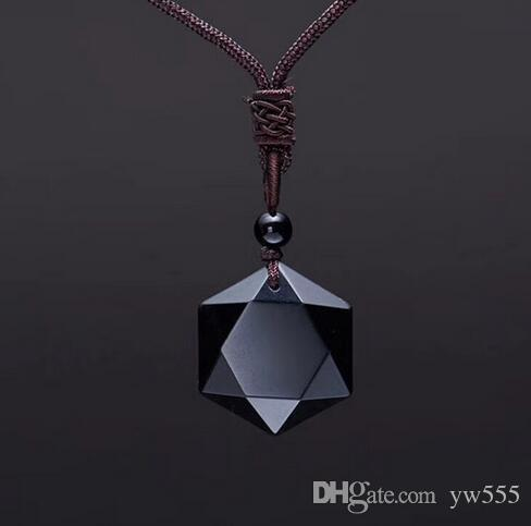 Fatpig Black Obsidian Necklace Collar colgante Lucky Love Crystal Jewelry con cuerda Drop Shipping