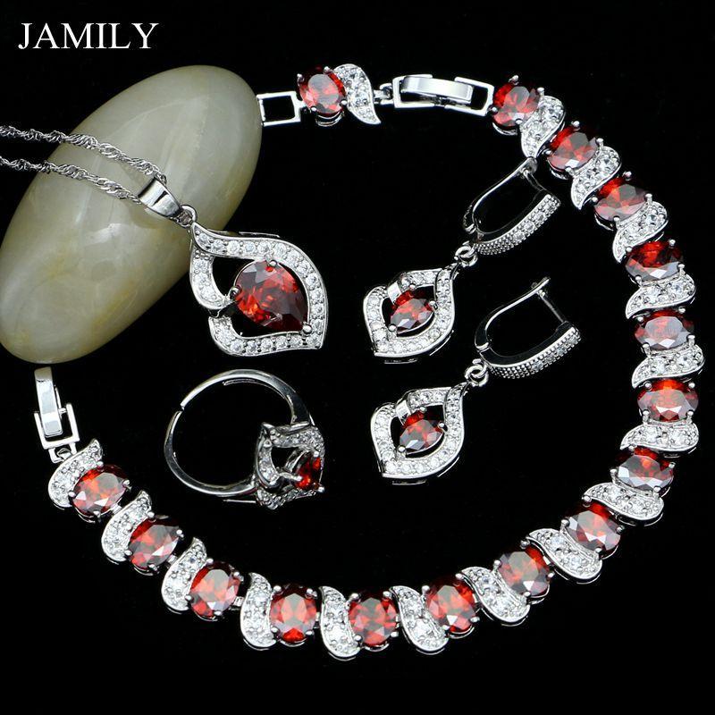 Toptan Gümüş 925 Gelin Takı Setleri Kadınlar Için Kırmızı Ve Beyaz Kübik Zirkonya Moda Bilezik Kolye Yüzük Kolye Küpe Seti