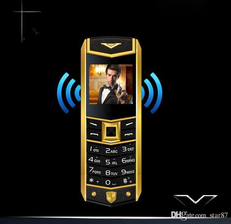 Teléfonos móviles de oro de alta calidad de alta calidad para hombre para hombre DUAL SIM Tarjeta de metal Frame de acero inoxidable Caja gratis