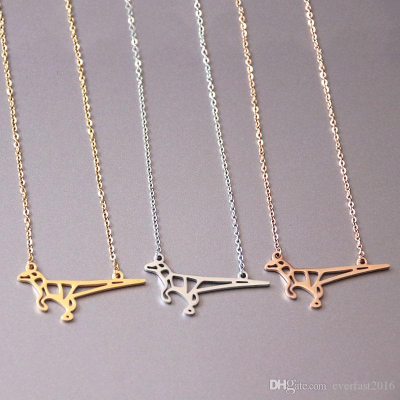 Well Designed Origami Dinosaur Pendants Necklace Cute Lizard Stainless Steel Charms Chokers Necklaces Women Girls Kids Loved Gift SN083
