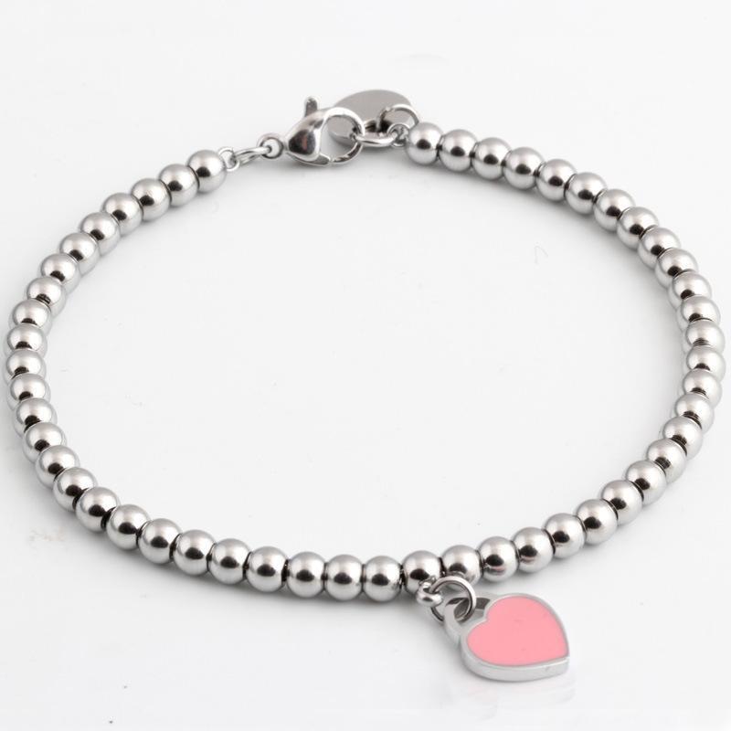 الجملة الساخنة العلامة التجارية الشهيرة التيتانيوم الصلب أساور كلاسيكي مجوهرات القلب سوار للنساء سحر الخرز سوار pulseiras مجوهرات KKA1097