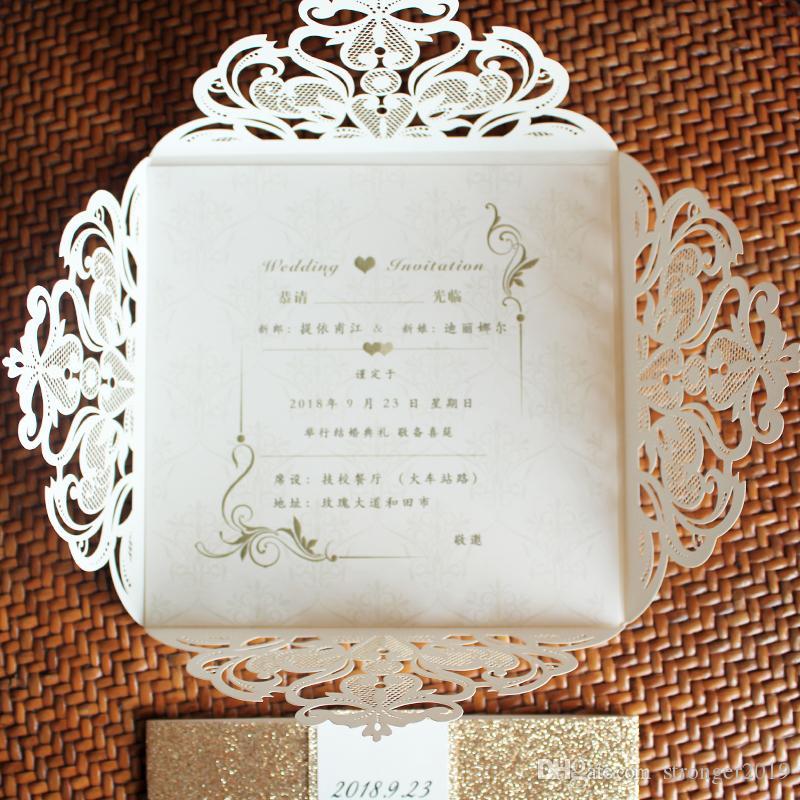 Invito caldo romantico del taglio del laser di scintillio dell'oro della rosa dell'avorio di vendita per le decorazioni di lusso del partito Decoratiions ha stampato la banda di pancia dalla Cina