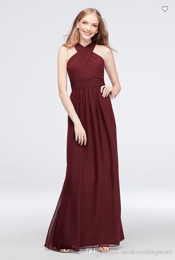 Free Shipping 2018 New Arrival AP2E203341 Cross-Front Chiffon Bridesmaid Dress Custom Made Bridesmaid Dress