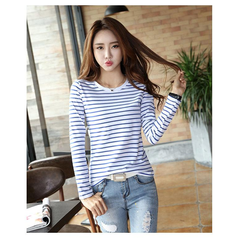 Autumn Winter Striped T-shirt Women Casual Plus Size Tops Tees Femme Long Sleeve Women Cotton Tshirt Camisetas Mujer 2019 (6)