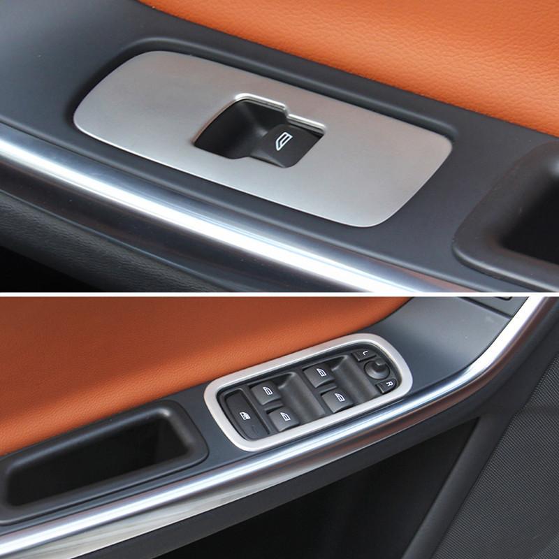 스테인레스 스틸 윈도우 리프트 버튼 프레임 트림 볼보 XC60 S60 V60 자동차 도어 팔걸이 장식 패널 자동 스타일링