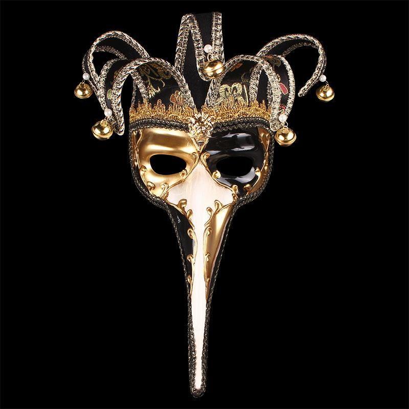 Long nez nez demi masque avec de petites cloches masques vénitiens mascarade pour Noël Halloween Day Decor fournitures mode 45wpa BB