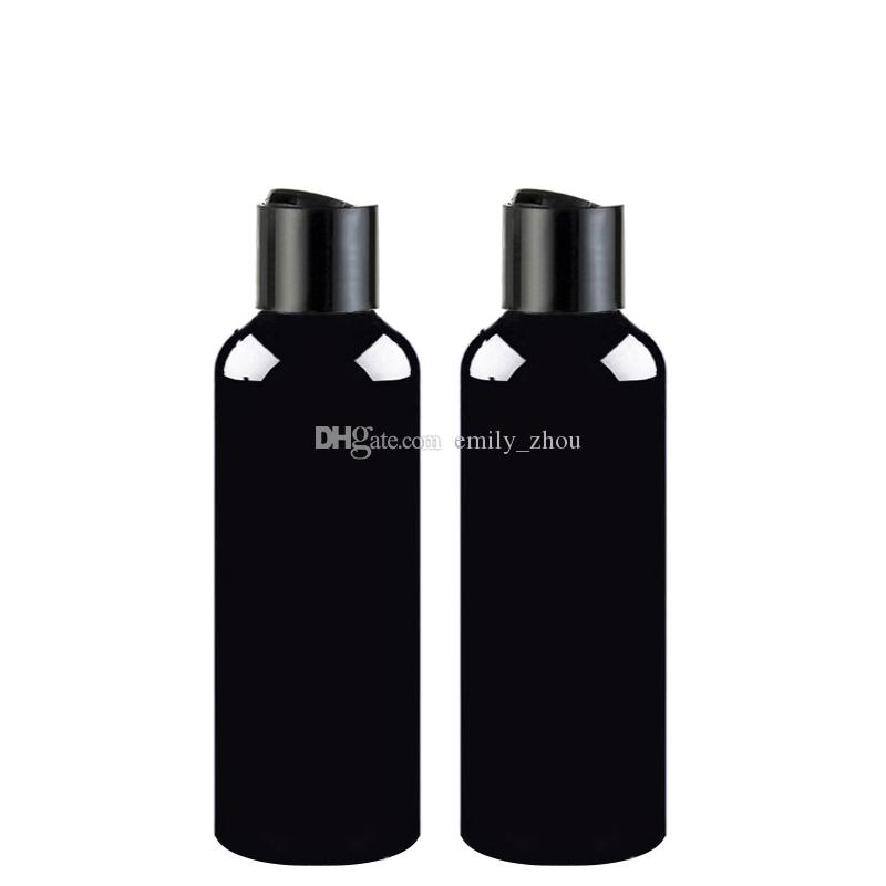 100ml 150ml 200ml 250ml 300ml Empty Shampoo Containers With Black Disc Top Cap,Black Pet Bottle Press Lid,Cosmetic Packaging,Shampoo Bottle