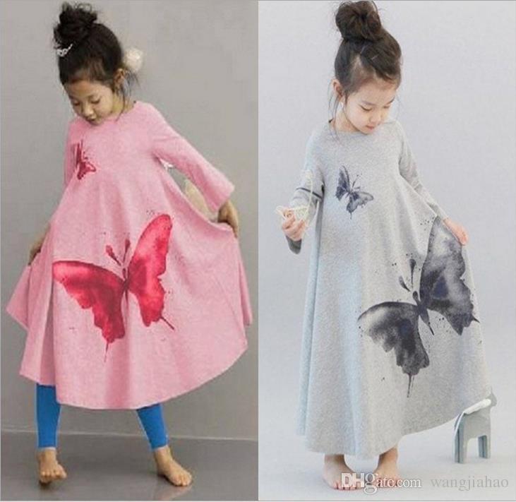 2018 ins new girl big butterfly horn long section skirt long sleeved princess dress spring and summer party kids fashion Irregular dress