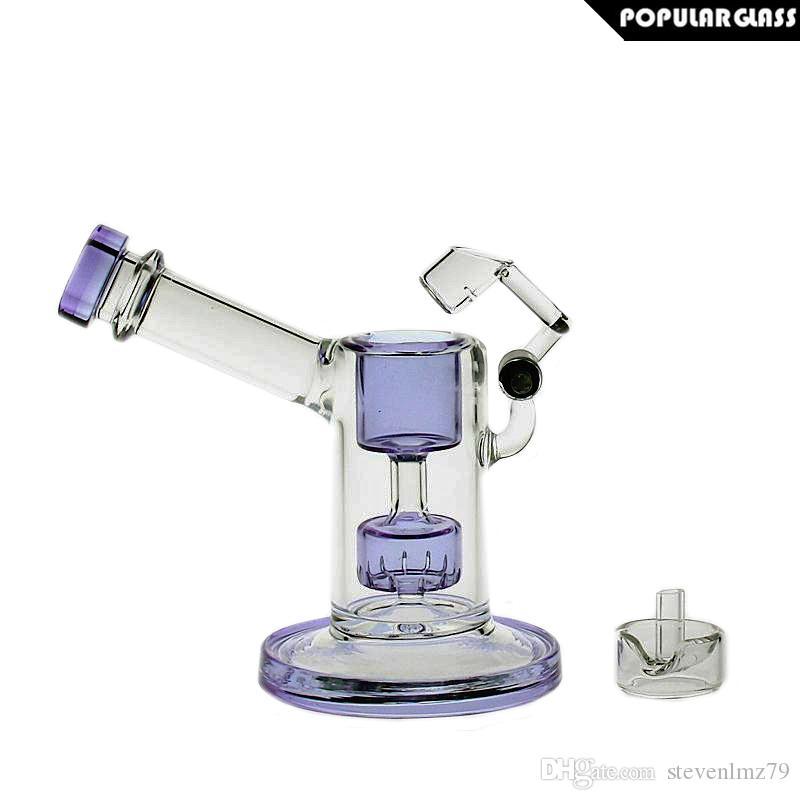 SAML GLASS 13.5cm Tall Glass bongs glass mini bubbler with quartz swing smoking pipe Purple WITH CAPS PG5042(FC-MINI)