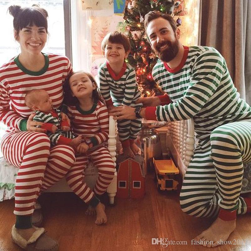 Дети Рождество Пижама наборы Детские Детские Мальчики Полосатый Ночное пижамы Установить пижамы Одежда для новорожденных наборы