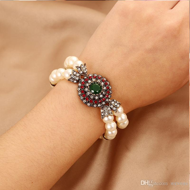 2019 New Arrival Luxury Rhinestones Spring Ring Wedding Bracelets Pearl Red&Green Bridal Jewelry Cheap Crystals Bracelet For Evening Party