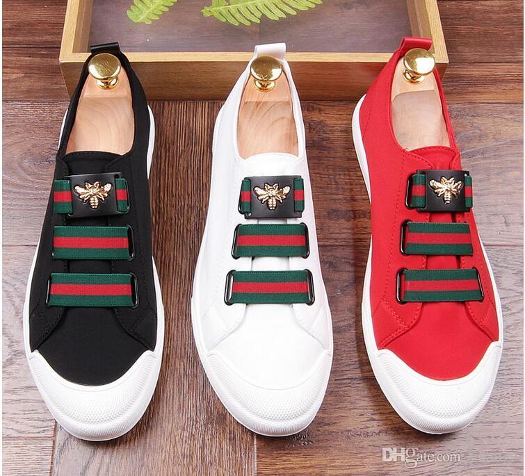 2018 zapatos con brillos para hombre Moda para hombre blanco negro rojo Casual Pisos Zapatos de vestir de diseñador para hombres Mocasines con lentejuelas Plataforma para hombres