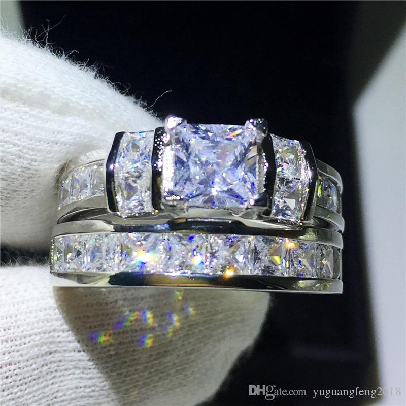 Ensembles de mariée bijoux bague en argent Sterling 925 princesse taille diamant Cz pierre bague de fiançailles bagues de mariage pour les femmes cadeau