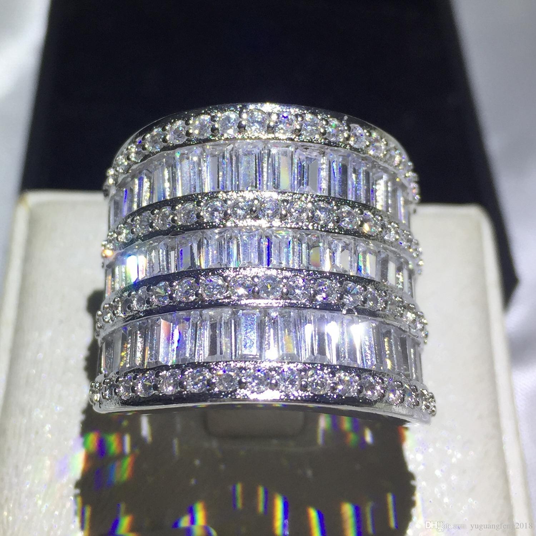 Moda büyük takı Iyi Elmas 925 ayar gümüş T Cz kadınlar Düğün nişan aşk lüks kadın yüzük Hediye