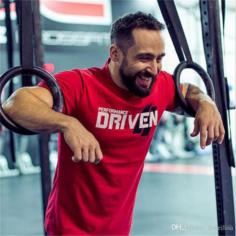 red Mens Summer gyms Workout Fitness T-shirt Bodybuilding Slim Shirts printed Shirts printed O-neck Short sleeves cotton Tee free shiping