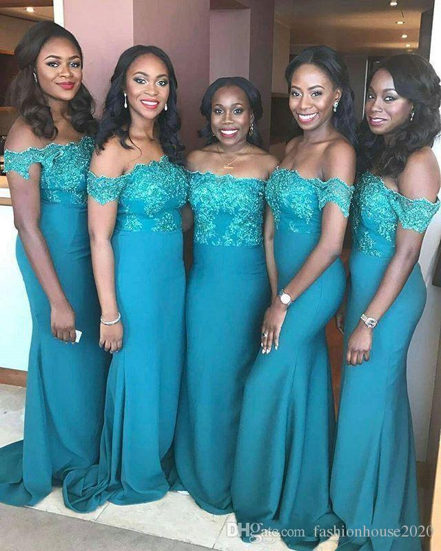 29db6d6409 2018 African Teal Blue Bridesmaids Dresses Off Shoulder Lace Appliques  Mermaid Floor Length Country Black Girls Sheath Wedding Guest Gowns
