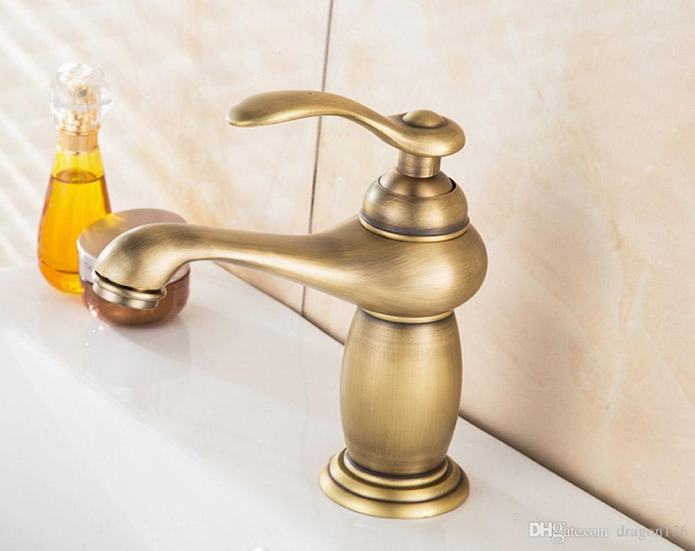 BAOLINLONG Estilo antiguo de latón de montaje en la cubierta del baño grifos del grifo tocador vanidad lavamanos fregadero mezclador solo grifo