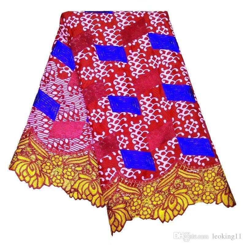 6 ياردة / pc الفوشيه رائع والأصفر الأفريقي للذوبان الدانتيل مع المطبوعة نسيج القطن الشمع الأحمر لفستان LBL41-1