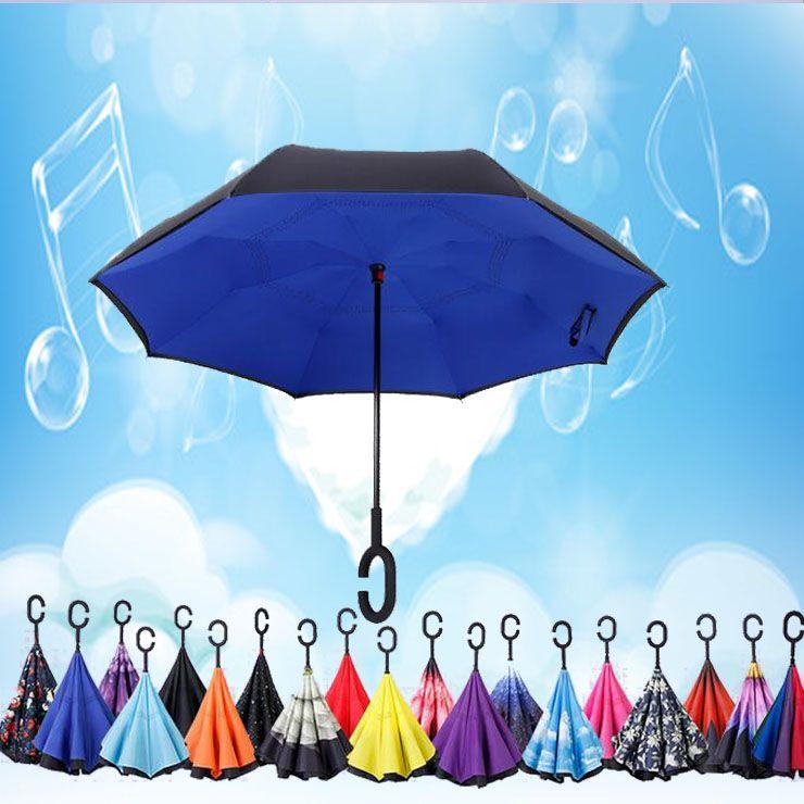 66 Renkler Multipose Yaratıcı Katlanır Ters CH J J Ile Şemsiye Çift Katmanlı Yağmur Geçirmez Rüzgar Geçirmez Şemsiye Araba Beach YM001-046