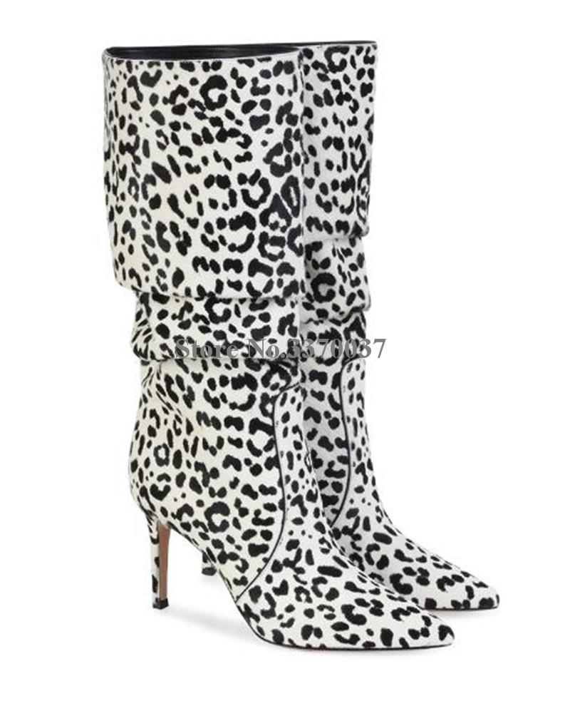 Großhandel Winter Neue Mode Frauen Spitz Leopard Wildleder Kniehohe Dünne Ferse Stiefel Slip On Lange High Heel Stiefel Kleid Schuhe Von Keroyeah,