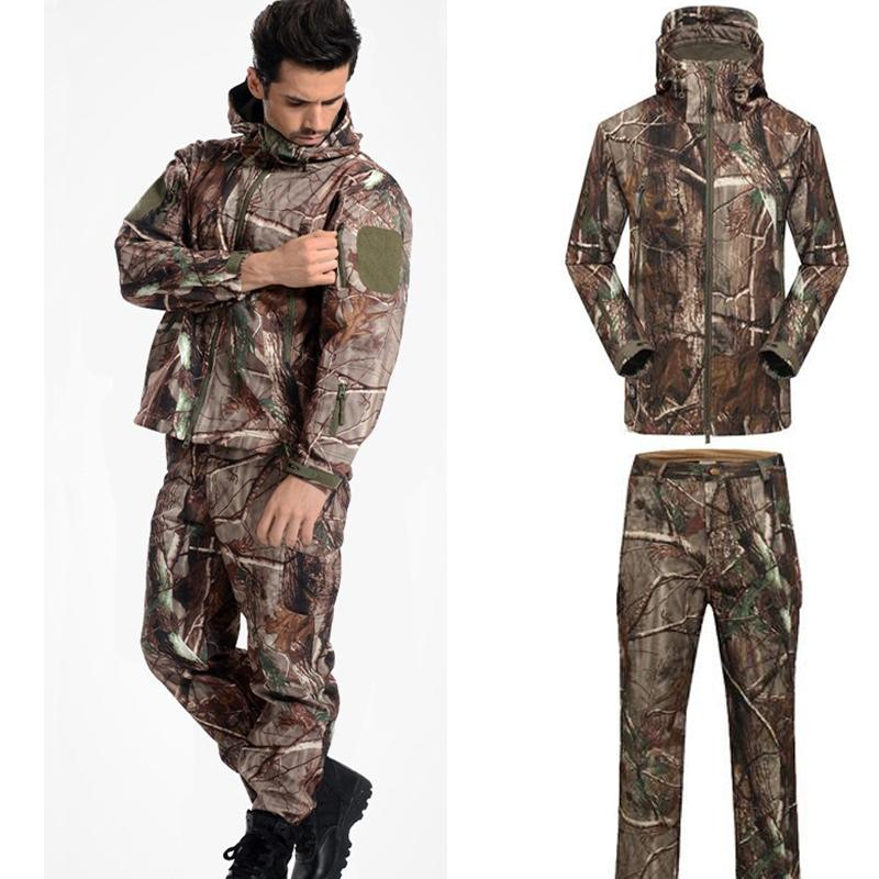 Männer Outdoor Sport Sharkskin TAD Wasserdichte Jacke Und Hosen Taktische Jagdbekleidung Militär Armee Camouflage Uniformen Y1893006
