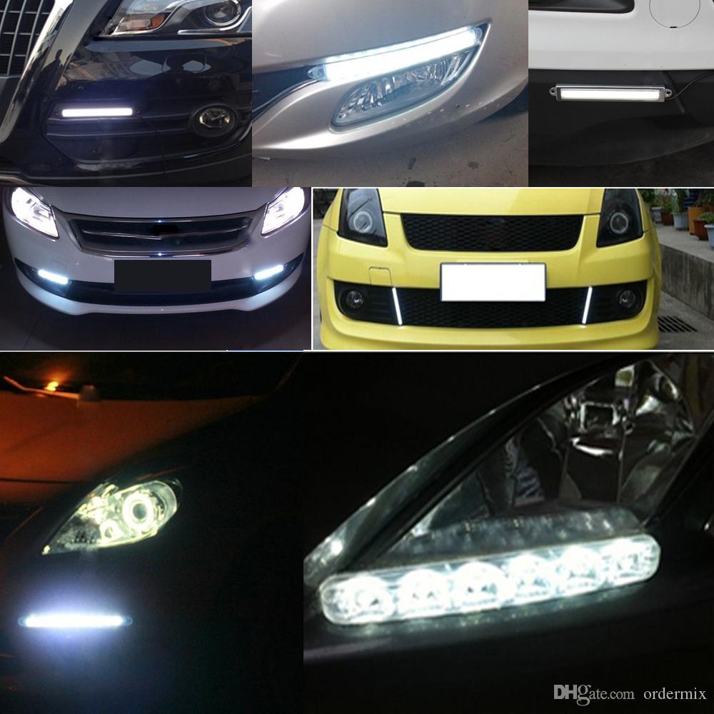 2 sztuk 6leds LED samochodów Lampy przeciwmgielne Wodoodporna stylizacja stylizacji Cob LED DRL Dnia Light Auto Day Lampa Drive Super Bright