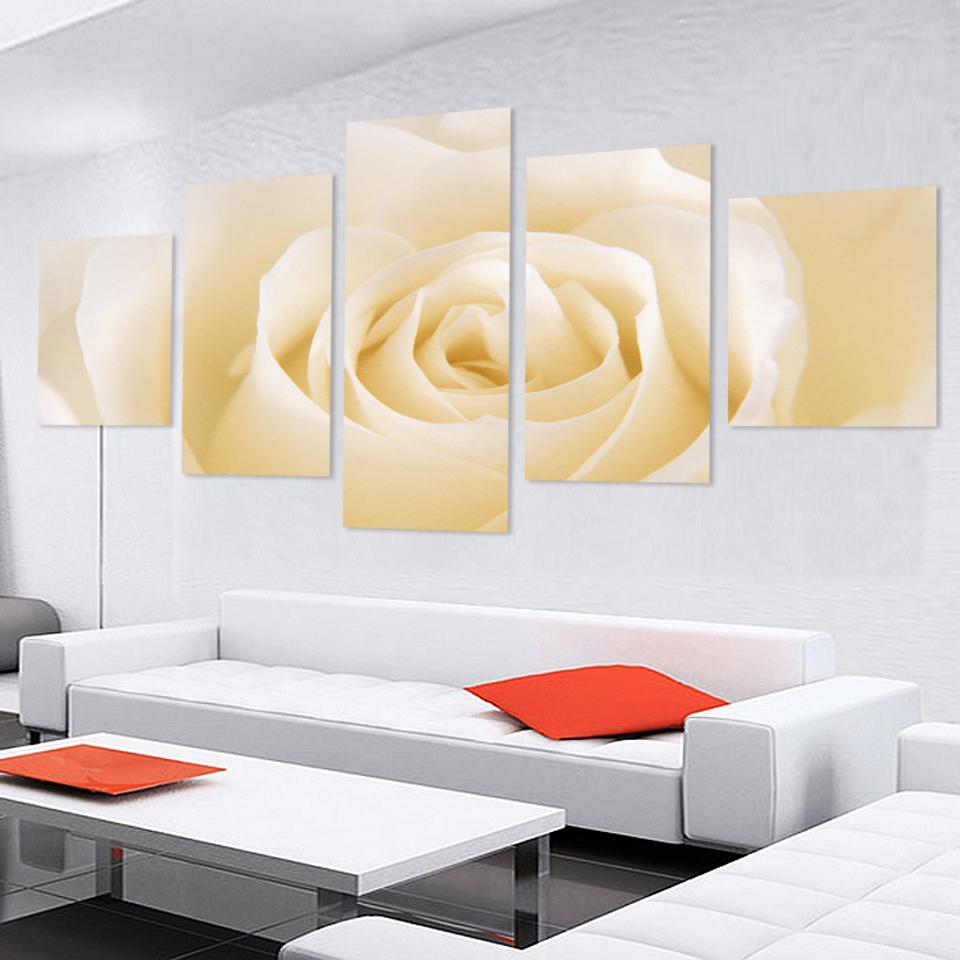 Fashion 5 Pcs Free Shipping Home Decorative Art Picture Paint on Canvas Prints Cheap abstract Modern Wall Painting rose flower