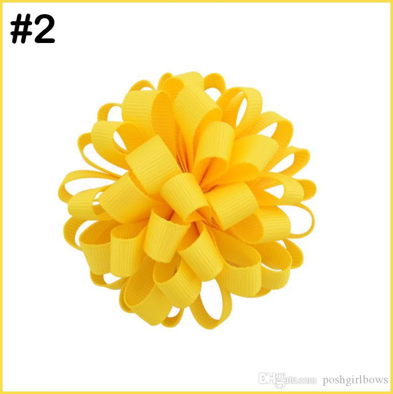 free shipping 50pcs ball loopy hair bows girl hair pony baby infant hair bows
