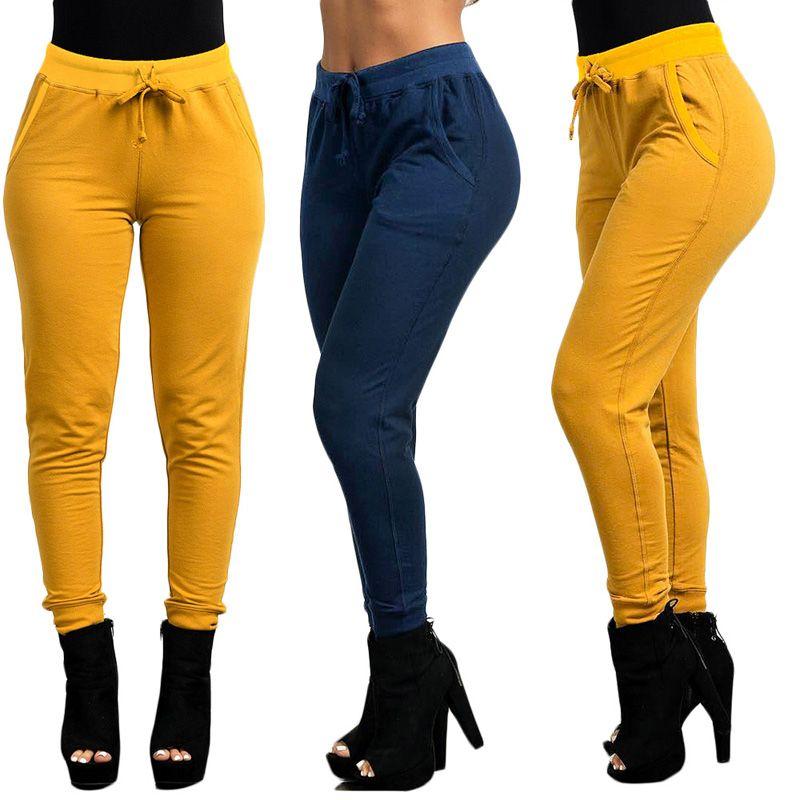 가을 겨울 여성 바지 베스트 셀러 패션 캐주얼 스포츠 바지 스트레칭 캐주얼 바지 노란색 네이비 블루 xl 811