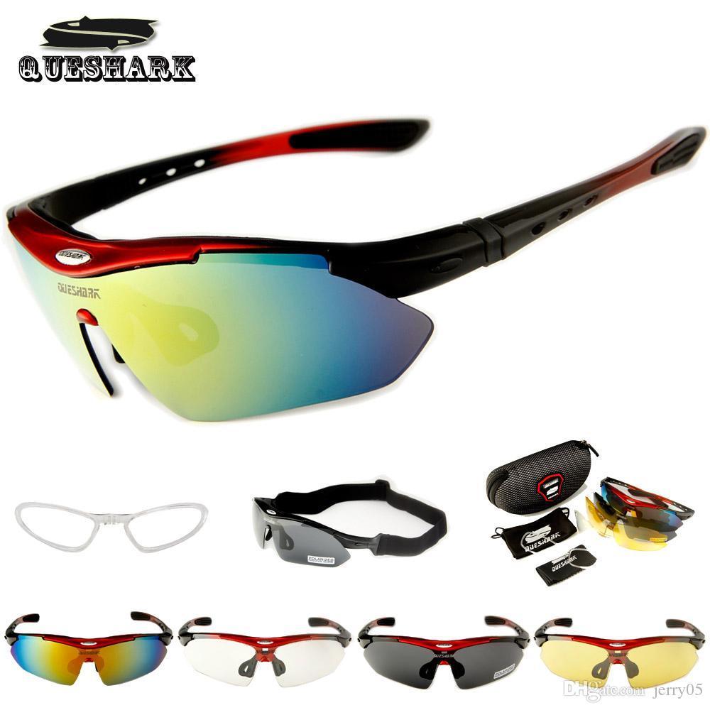 Queshark Polarized Radfahren Sonnenbrillen Bike Racing Fahrradbrillen Radfahren Brille Camping Wandern Angeln Eyewear + Myopie Rahmen