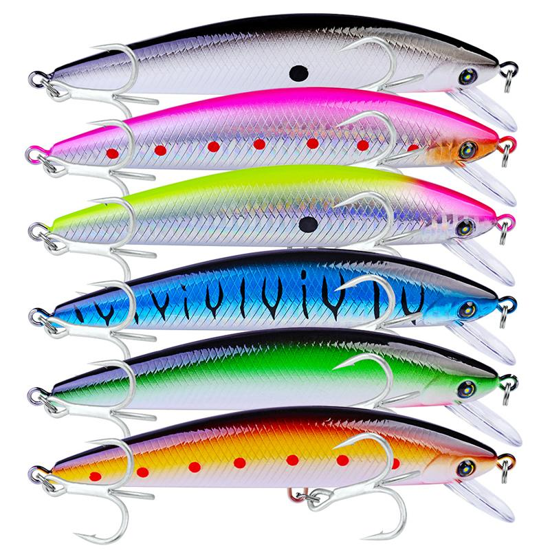 New Deep Diving Trout bass fishing lure 6colors 13cm 41g Realistic swimming Minnow lures Artificial Fishing bait