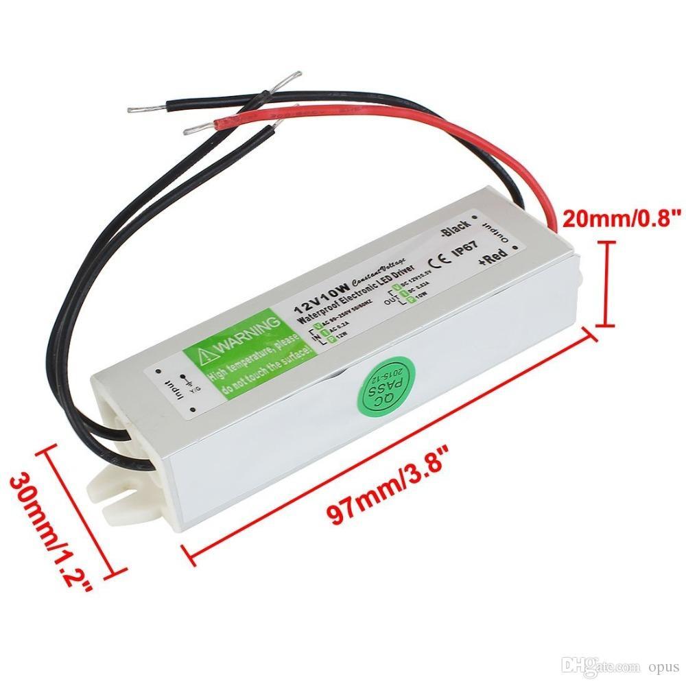 30pcs DC 12V 10W su geçirmez IP67 Elektronik LED Sürücü Adaptörü Açık Kullanım Güç Kaynağı Led Aydınlatma Trafo AC 90-250V Şeritleri