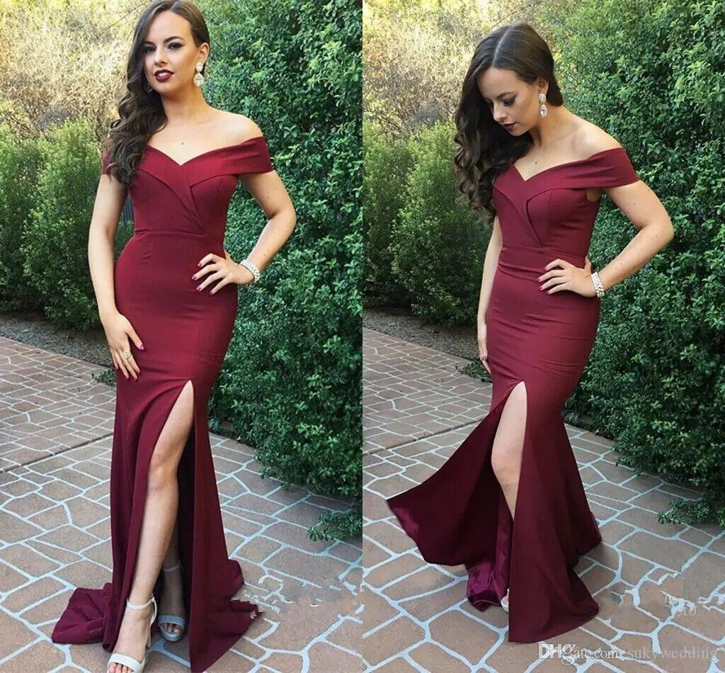 Sexy Satin Mermaid Prom Dresses Off Shoulder Side Split Formal Dresses Party Evening Gowns Custom Made Cheap Burgundy Prom Gowns