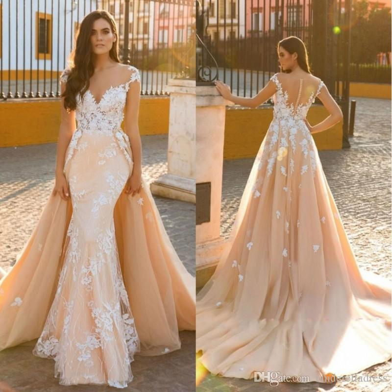 Designer Detachable Train Mermaid Bridal Gown Vintage Applique 2020 Scoop Embroidery Tulle 2 In 1 Wedding Dresses Customize Made