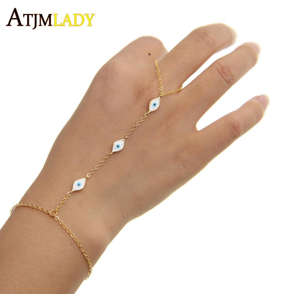 3 cores 2017 nova minúsculo bonito mal olho charme esmalte branco moda jóias 16 + 5 cm pulso bebê jóias pulseira de mão, escravo pulseiras