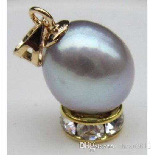 Precioso colgante de perlas de oro amarillo de 14 a 11 mm de plata de 11 a 11 mm de mar gris