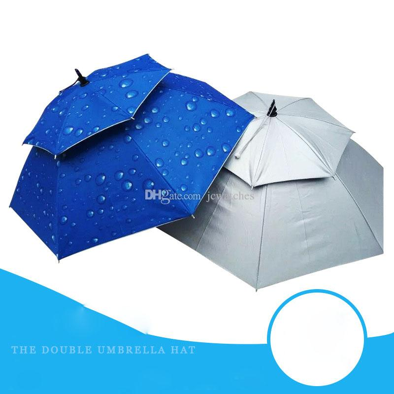 Outdoor Large Waterproof Double Layer Fishing Umbrella Hat Hiking Camping Beach Sunshade Sunny Rainy Anti-UV Umbrella Cap for Men Women