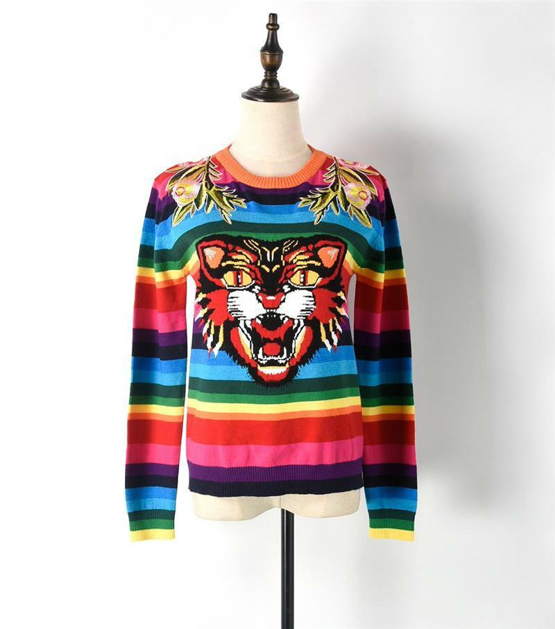 En venta Otoño Pista de diseñador Mujeres Suéter Pullover Tiger Head Rianbow Rayas Primavera Bordado Floral Arco iris Rayado Punto Top Jumper